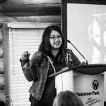 beverley presenting at social media breakfast in red deer 2017