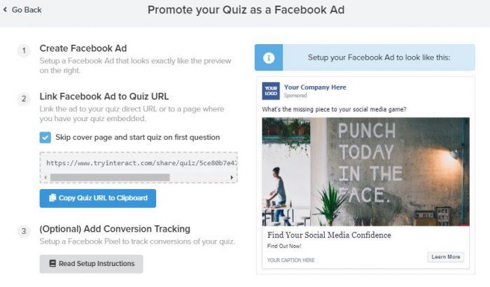 interact quiz facebook ad