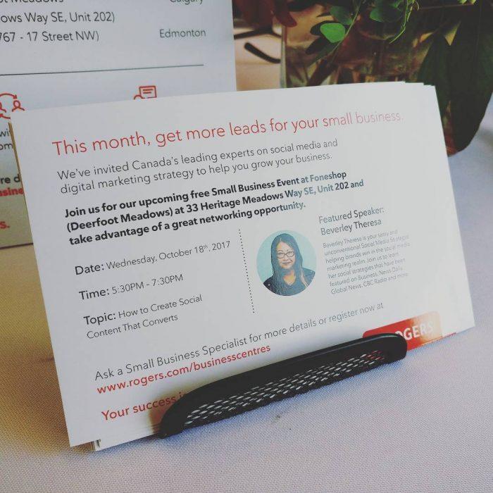 social media for small businesses speaker card